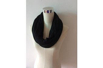 (Black) - Two-Sided Infinity Nursing Scarf & Cover for Breastfeeding Babies & Mothers. Softest, Most Stylish Way to Nurse Your Baby in Total Privacy. Premium Quality Nursing Cover Fits Plus-Sized Moms,Too
