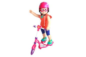 (scooterset) - Click n' Play Doll Scooter and Helmet Set, Perfect For 46cm American Girl Dolls