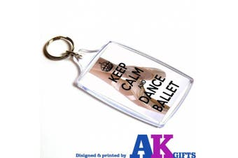 Keep Calm And Dance Ballet Double Sided Keyring Ideal Gift Stocking Filler Girls