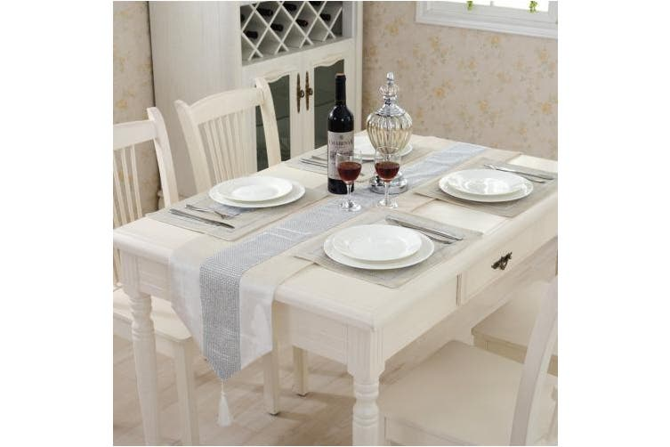 """(Creamy white, 32cm x 210cm (12.5"""" * 82.5"""")) - Western modern white table runners tapestry middle diamond 200cm approx for wedding and party"""
