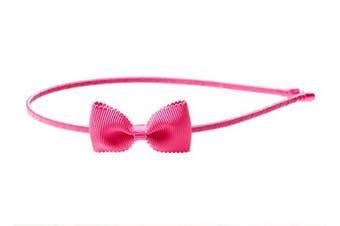 """(One Size, Hot Pink) - Anna Belen Girls """"Lana"""" Small Grosgrain Bow Headband O/S Hot Pink"""