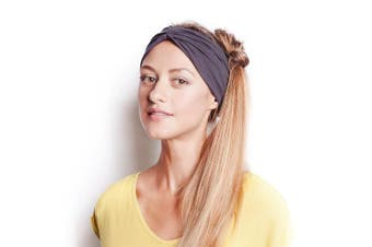 (Charcoal) - BLOM Original Multi-Style Headband. Perfect for Yoga or Fashion, Workout or Travel. Happy Head Guarantee. Super Comfortable. Designer Style & Quality.