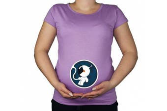 (XX-Large, Violet) - Maternity Pregnancy size 10 - 20 Astronaut Spaceman Cotton Top Tunic T-Shirt