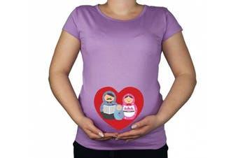 (Medium, Violet) - Maternity Pregnancy size 10 - 20 Cotton Matryoshka Doll Baby Print Top Tunic T-Shirt