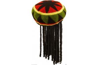 Unisex Ladies Mens Adult Jamaican Hat with Wig Dreadlocks Bob Marley Fancy Dress