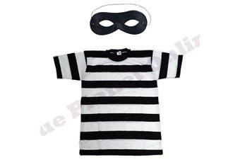 (7-8 years) - Childrens Kids Burglar Robber Thief Striped T Shirt & Eye Mask Fancy Dress Costume (7-8 years)