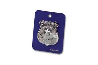 Childrens Kids Boys Girls Police Policeman Metal Silver Badge Fancy Dress Accessory
