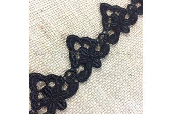 (Black) - Lace Trim Royal Emblem Design Design Venise 5.1cm Wide, 2 Yards, Choose Colour. Multi-Use ex: Garments Tops Decorations Crafts Costumes Veils Scrapbooks, Black