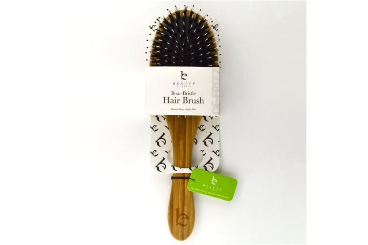 (1) - Boar Bristle Hair Brush - Bamboo Brush for Shiny, Healthy Hair and Preventing Breakage, Damage Split Ends, Frizzy, Unmanageable Locks - Added Pins to Detangle & Scalp Stimulation. Eco-Friendly Paddle