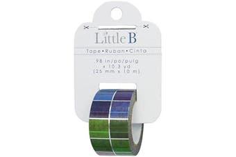 Little B 100866 Decorative Foil Paper Tape, Silver Foil Multi Colour Squares
