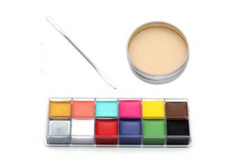 CCbeauty® 3PC Set Special Effects Stage Makeup Fake Wound Scars Wax + Oil Painting(flash colour) + Spatula Tool