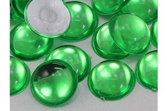 (Peridot .PD2) - 7mm Green Peridot .PD2 Flat Back Acrylic Round Cabochon High Quality Pro Grade - 100 Pieces