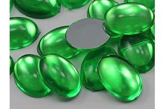 (Peridot .PD2) - 18x13mm Green Peridot .PD2 Flat Back Acrylic Oval Cabochon High Quality Pro Grade - 25 Pieces