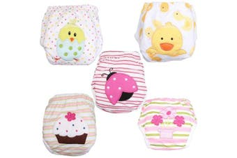(Medium, Multi-TP5-001) - Babyfriend Baby Girls' Washable 5 Pack Training Pants Kids Potty Cloth Nappy Nappy Underwear TP5-001