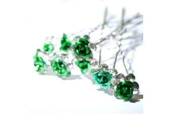 (Green) - 5starwarehouse® Bridal Wedding Prom Silver Crystal Diamante Rose Flower Hair Pins Clips Grips (Green)