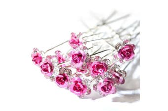 (Light Pink) - 5starwarehouse® Bridal Wedding Prom Silver Crystal Diamante Rose Flower Hair Pins Clips Grips (Light Pink)