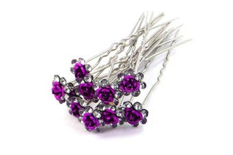 (Purple) - 5starwarehouse® Bridal Wedding Prom Silver Crystal Diamante Rose Flower Hair Pins Clips Grips (Purple)