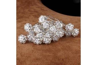 (White) - 5starwarehouse® Bridal Wedding Prom Silver Crystal Diamante Rose Flower Hair Pins Clips Grips (White)