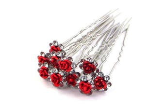 (Red) - 5starwarehouse® Bridal Wedding Prom Silver Crystal Diamante Rose Flower Hair Pins Clips Grips (Red)
