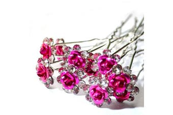 (Hot Pink) - 5starwarehouse® Bridal Wedding Prom Silver Crystal Diamante Rose Flower Hair Pins Clips Grips (Hot Pink)