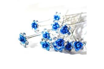 (Blue) - 5starwarehouse® Bridal Wedding Prom Silver Crystal Diamante Rose Flower Hair Pins Clips Grips (Blue)