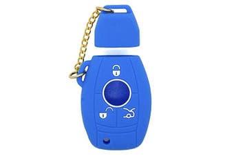 (Deep Blue) - Fassport Silicone Cover Skin Jacket for MERCEDES BENZ Smart Key CV2951 Deep Blue