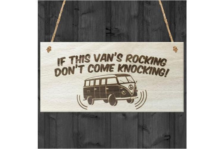 Red Ocean If This Vans Rocking Dont Come Knocking Novelty VW Campervan Wooden Hanging Plaque Sign Gift