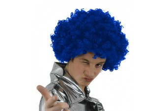 (Blue) - AFRO WIG FANCY DRESS ACCESSORY FUNKY LARGE CURLY HAIR 70'S DISCO CLOWN MENS LADIES IN MANY COLOURS (BLUE)