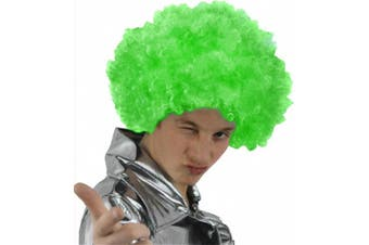 (Green) - AFRO WIG FANCY DRESS ACCESSORY FUNKY LARGE CURLY HAIR 70'S DISCO CLOWN MENS LADIES IN MANY COLOURS (GREEN)