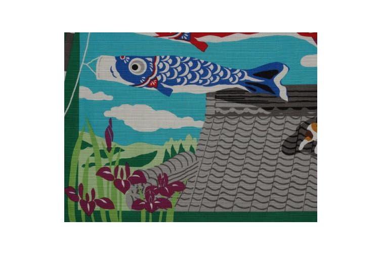 Furoshiki Cat and Boy's Day Koinobori Carp Streamers Motif Japanese Fabric 50cm
