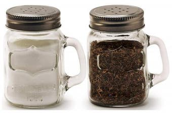 (150ml,) - Circleware 66734 Glass Mini Mason Jar Mug Salt and Pepper Shakers with Handles & Metal Lids, Kitchen Glassware Preserving Containers, Perfect Himalayan Seasoning Spices, 2-Piece Set, 150ml, Yorkshire