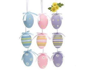 Easter Egg Ornaments 3 Assorted Designs Holiday Gift Home Decor- Set of 12