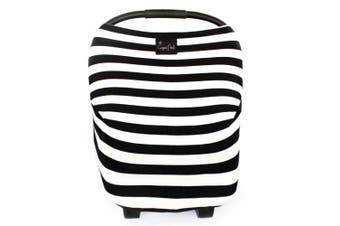 "Stretchy Multi-use Baby Car Seat Canopy, Nursing Cover, Shopping Cart Cover ""The Classic"" 3-in-1 Unisex Black and White"