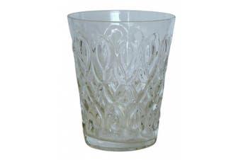 (Clear) - Zrike Brands Teardrop Pressed Glass Juice, Clear, Set of 4