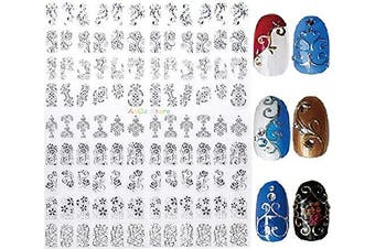 (Silver) - New Arrival Silver 3D Nail Art Stickers Decals,108pcs/sheet Stylish Metallic Mixed Designs Nail Tips Accessory Decoration Tool