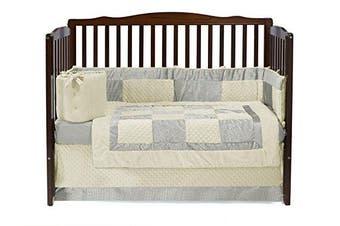 Baby Doll Croco Minky Crib Set, Ivory/Beige
