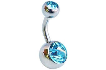 8mm Light Blue Double Jewelled Belly Bar