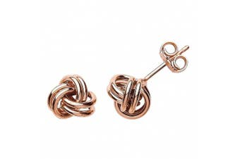 Jewelco London Rose Gold-Plated Sterling Silver Love Me Knot Stud Earrings