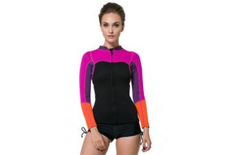 (Tag Small = US 2XSmall) - SBART Women's 2mm Neoprene Wetsuits Jacket Long Sleeve Wetsuit Top