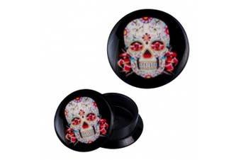 (14 mm) - Screw Plug acrylic Mexican Sugar Skull White Red Piercing Earrings