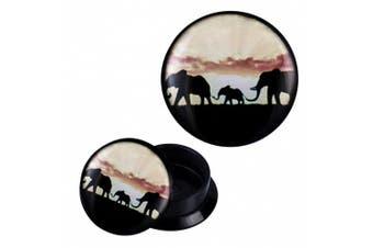 (08 mm) - Screw Plug acrylic elephant family beige black Expander Piercing Earrings