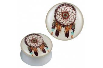 (08 mm) - Plug white acrylic Dreamcatcher brown turquoise orange Piercing Earrings