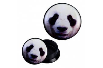 (16 mm) - Screw Plug acrylic panda head Animal Design Piercing Earrings
