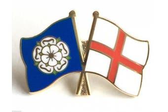 Yorkshire Rose & England Flags Friendship Courtesy Enamel Lapel Pin Badge