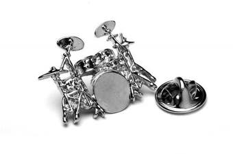 Drum Kit Metal Pin Badge with gift pouch - Designed BY drummers FOR drummers