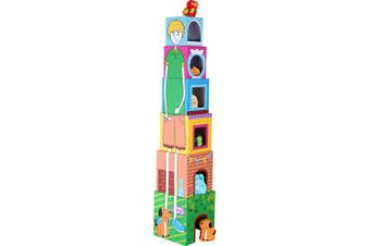 "small foot 10044 Colourful stacking cubes ""Pets"" made of cardboard, motor toys with 6 wooden pets, ."