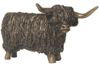 Highland Bull, Standing, Cold Cast Bronze Sculpture by Veronica Ballan. An ideal gift and home decoration for the animal lover (VB019).