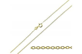 """(20.0 inches) - CJoL - 9ct Gold Plated on 925 Sterling Silver 1mm Wide Trace / Cable Chain In Simple Gift Bag (available in 16"""" to 24"""")"""