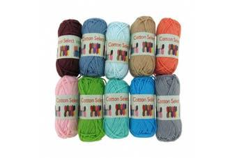 (10 Bon Bons, Assortment 97) - BambooMN Brand Cotoon Select Bonbon Yarns - Assortment 97- 10x 10g Solid Colour Mini Ball - 1 Pack