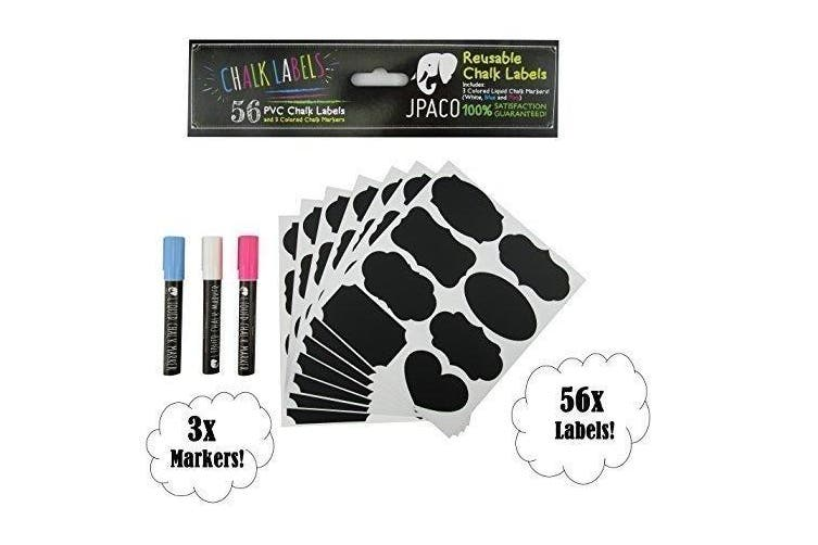 Premium Chalkboard Labels & Chalk Markers: 56 Labels and 3 Liquid Chalk Markers (White, Blue, & Pink) Heart Designs Included! by JPACO